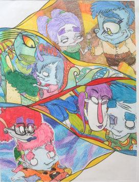 Stripfiguren getekend door Sophie