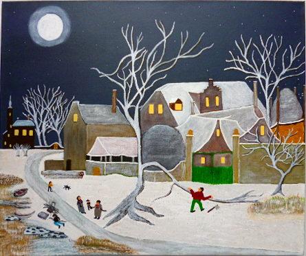 Winters tafereel geschilderd door Wally
